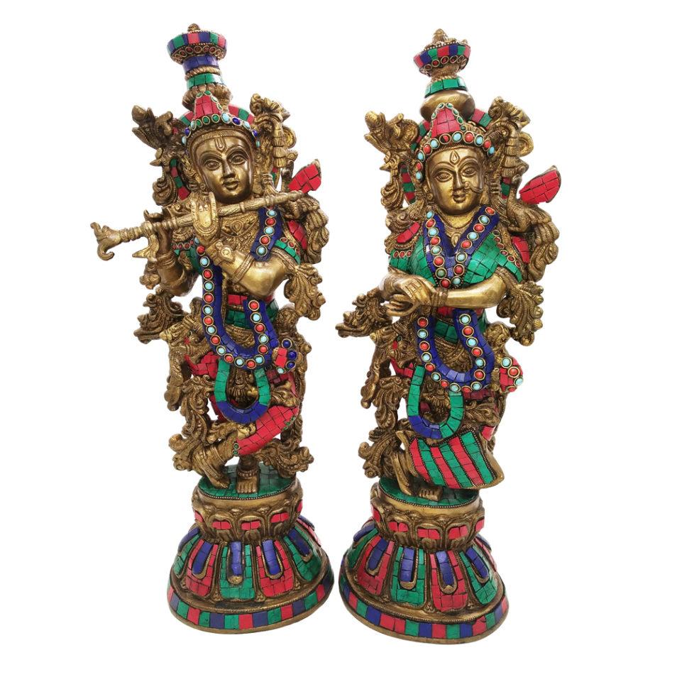Brass Radha Krishna With Stone Work Statue Love Couple Hindu Religious